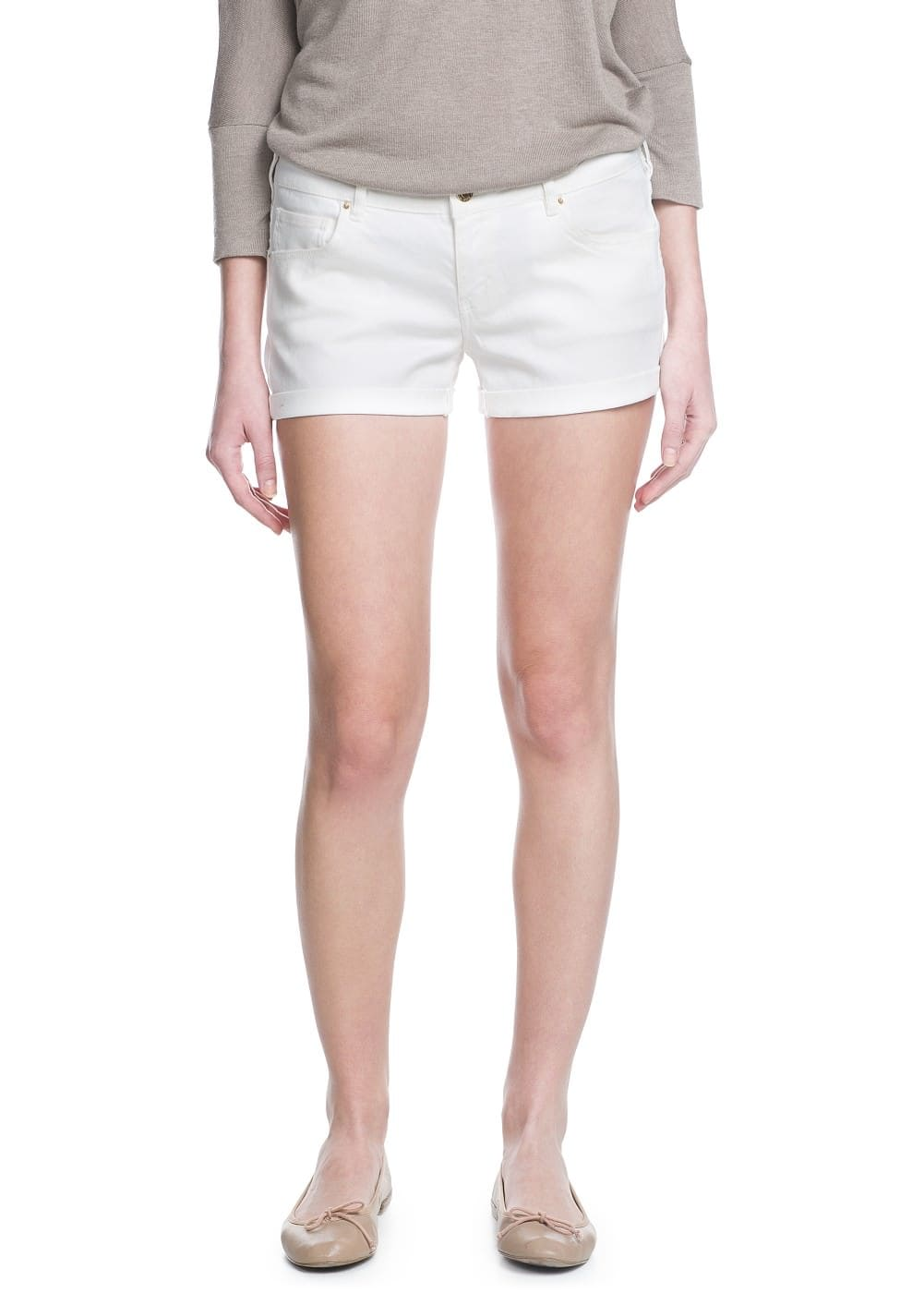 White denim shorts | MANGO MAN