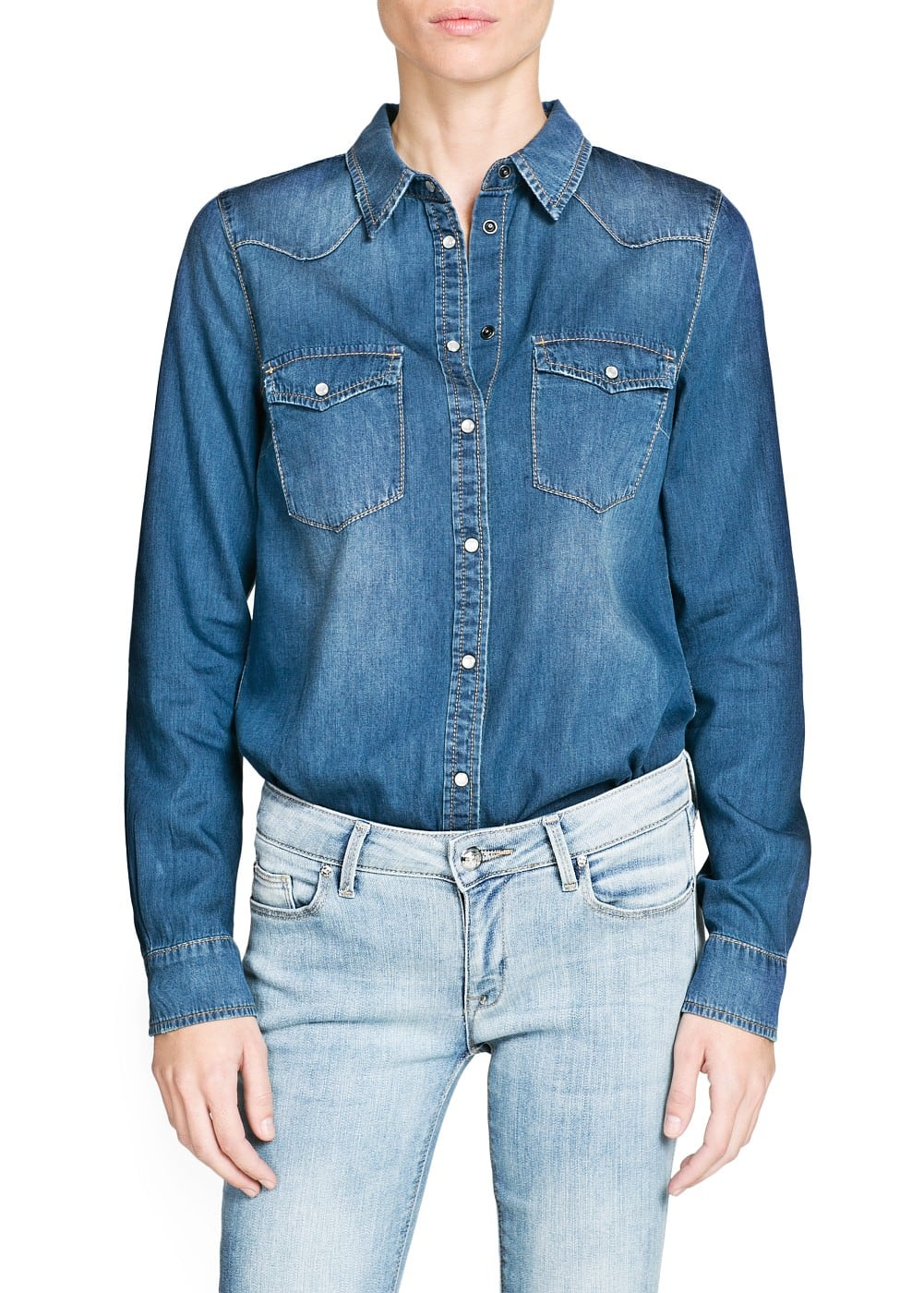 Dark wash denim shirt | MANGO