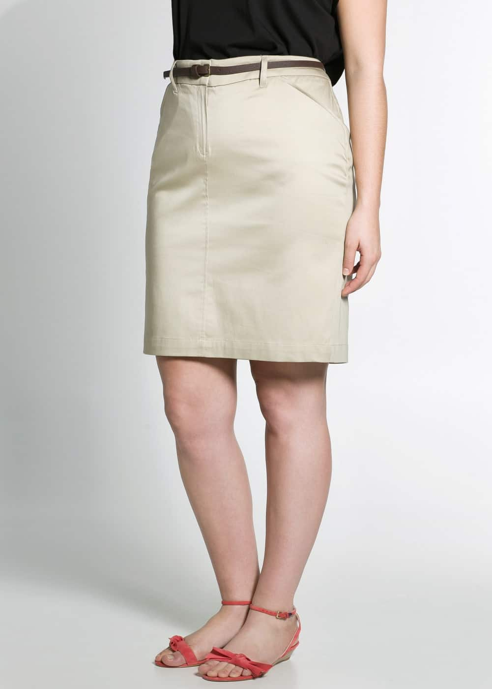 Belted cotton skirt | MANGO