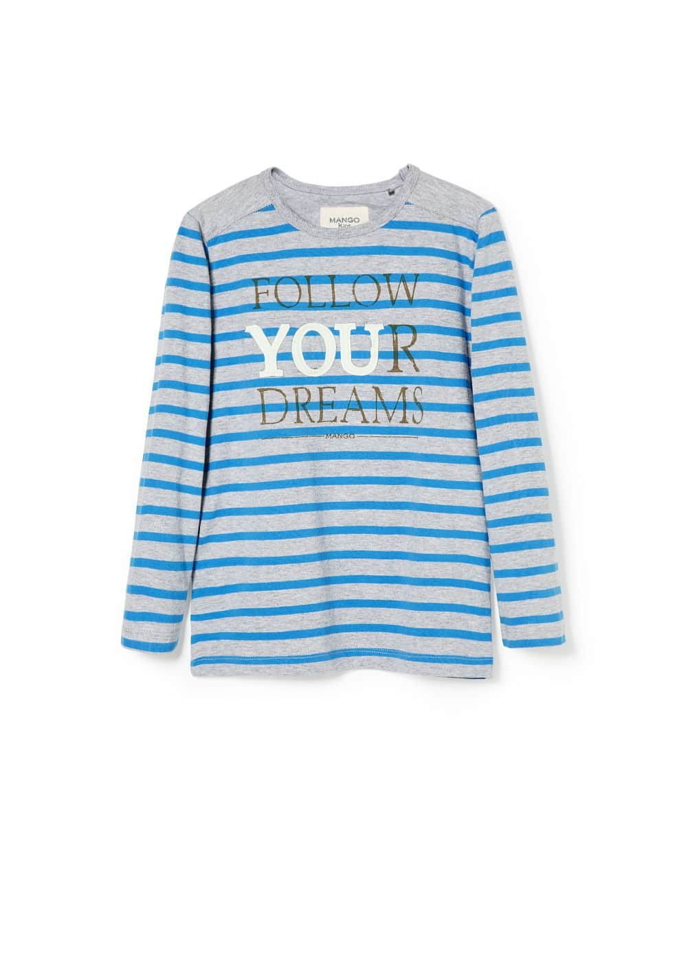 Message striped t-shirt | MANGO KIDS
