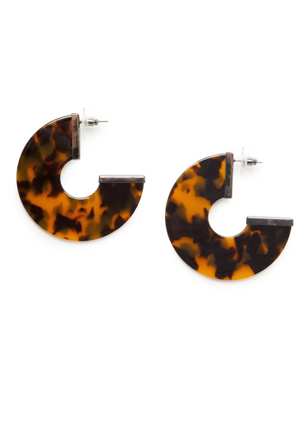 Tortoiseshell hoop earrings | MANGO