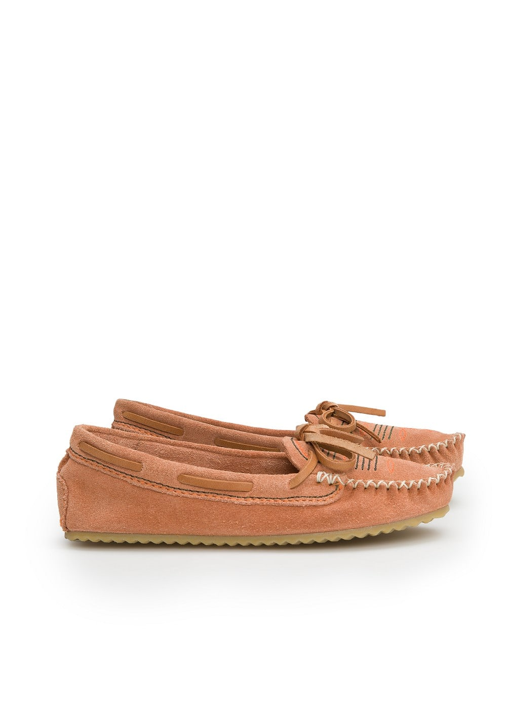 Embroidered suede moccasins | MANGO