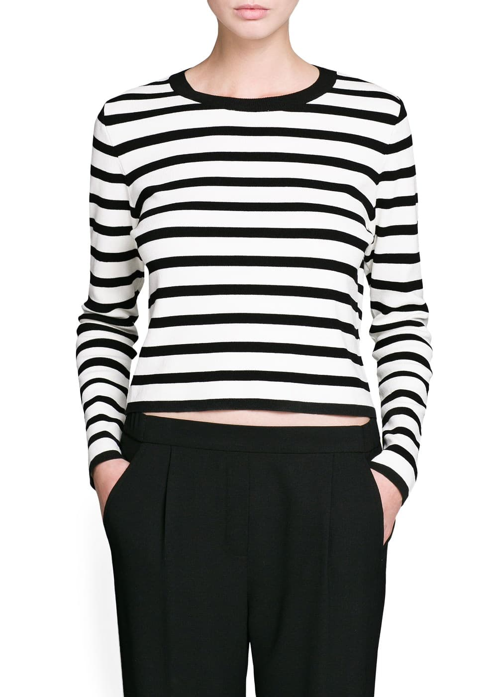 Striped cropped sweater | MANGO