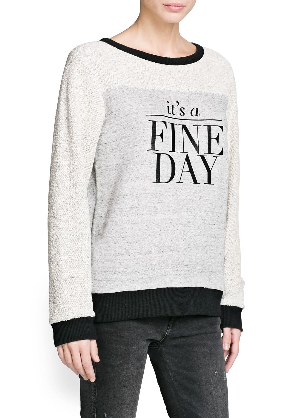 Fine day cotton sweatshirt | MANGO