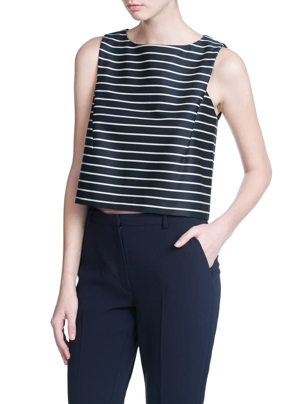 Striped cropped top | MANGO