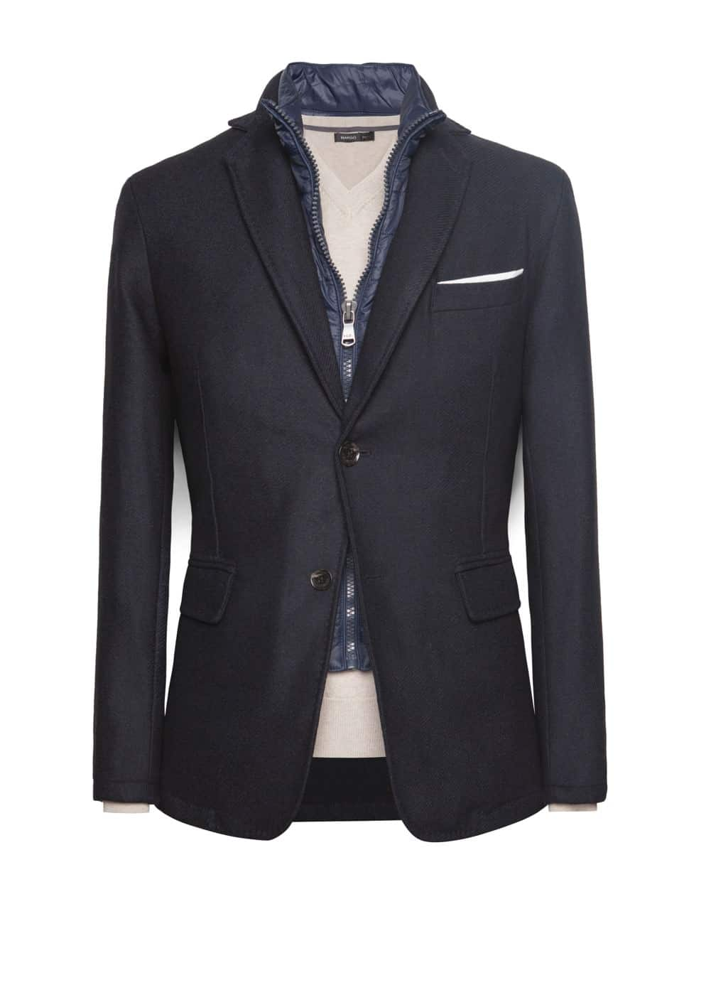 Quilted panel wool-blend blazer | MANGO