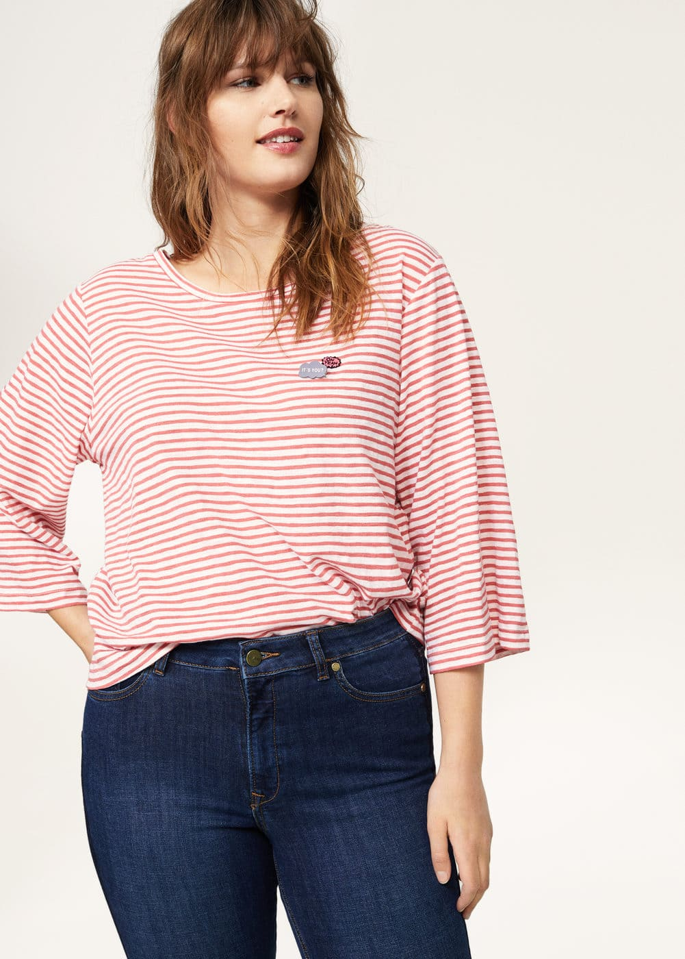 Appliqués striped t-shirt | VIOLETA BY MANGO