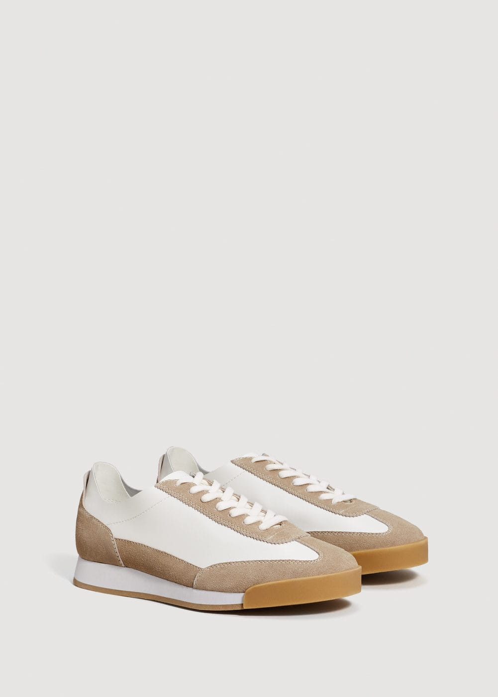 Panels leather sneakers | MANGO MAN