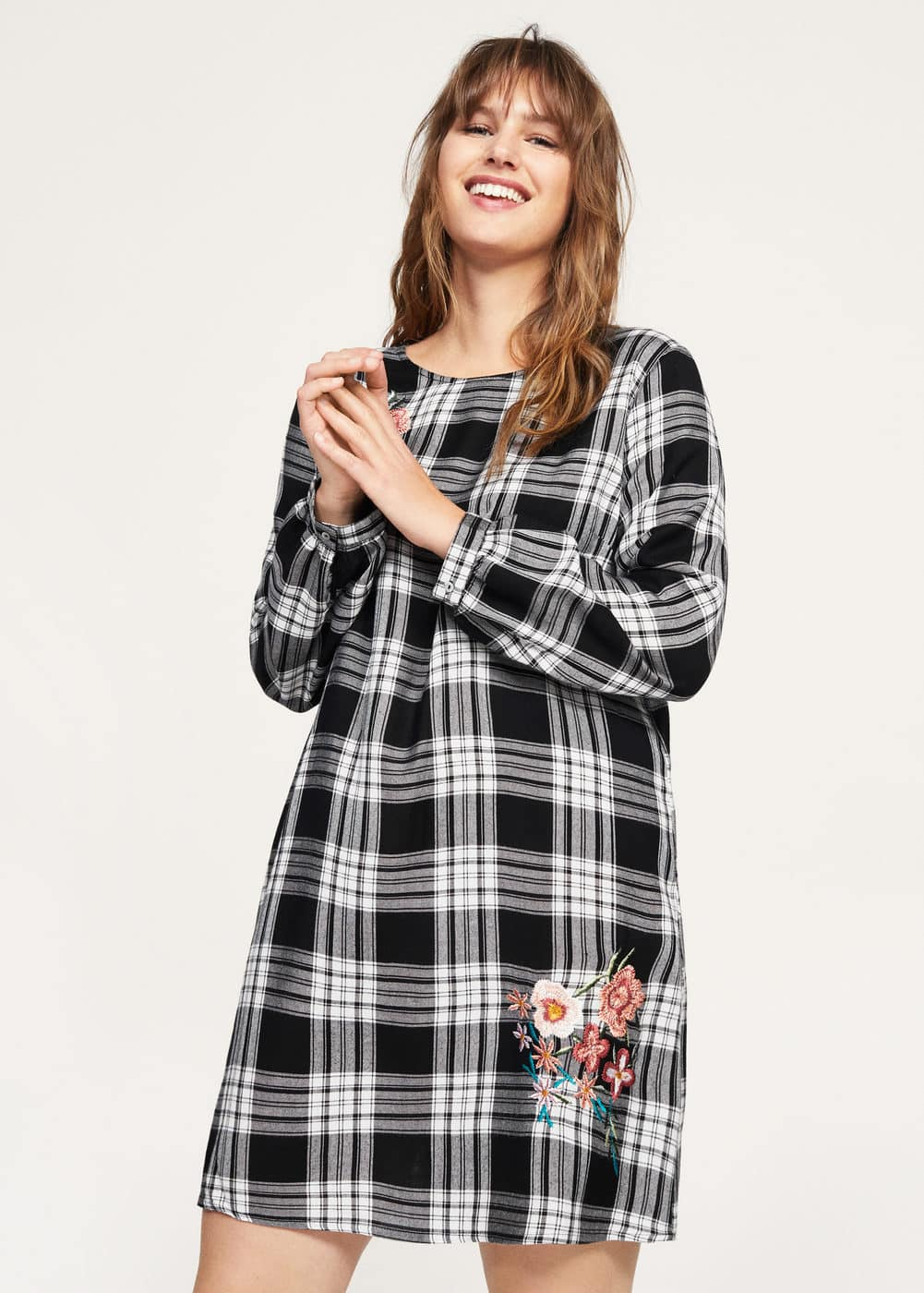 Embroidered checked dress | VIOLETA BY MANGO