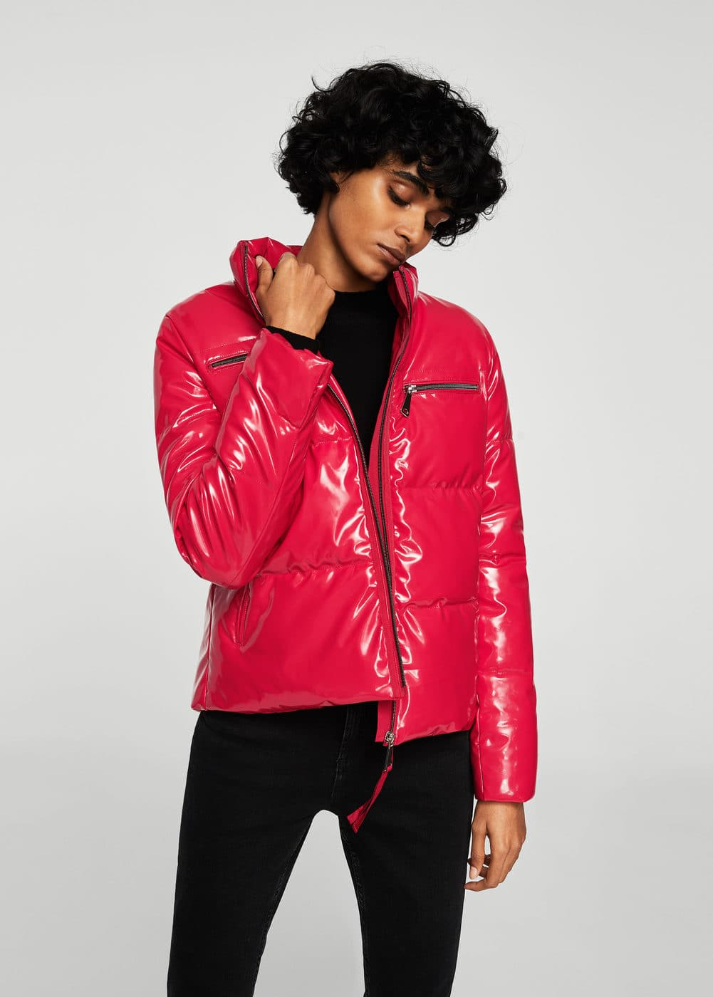 Vinyl quilted coat | MANGO