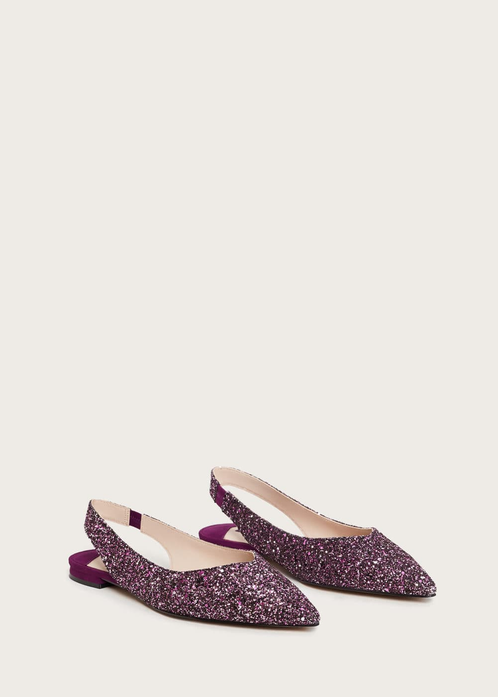 Glitter slingback shoes | VIOLETA BY MANGO