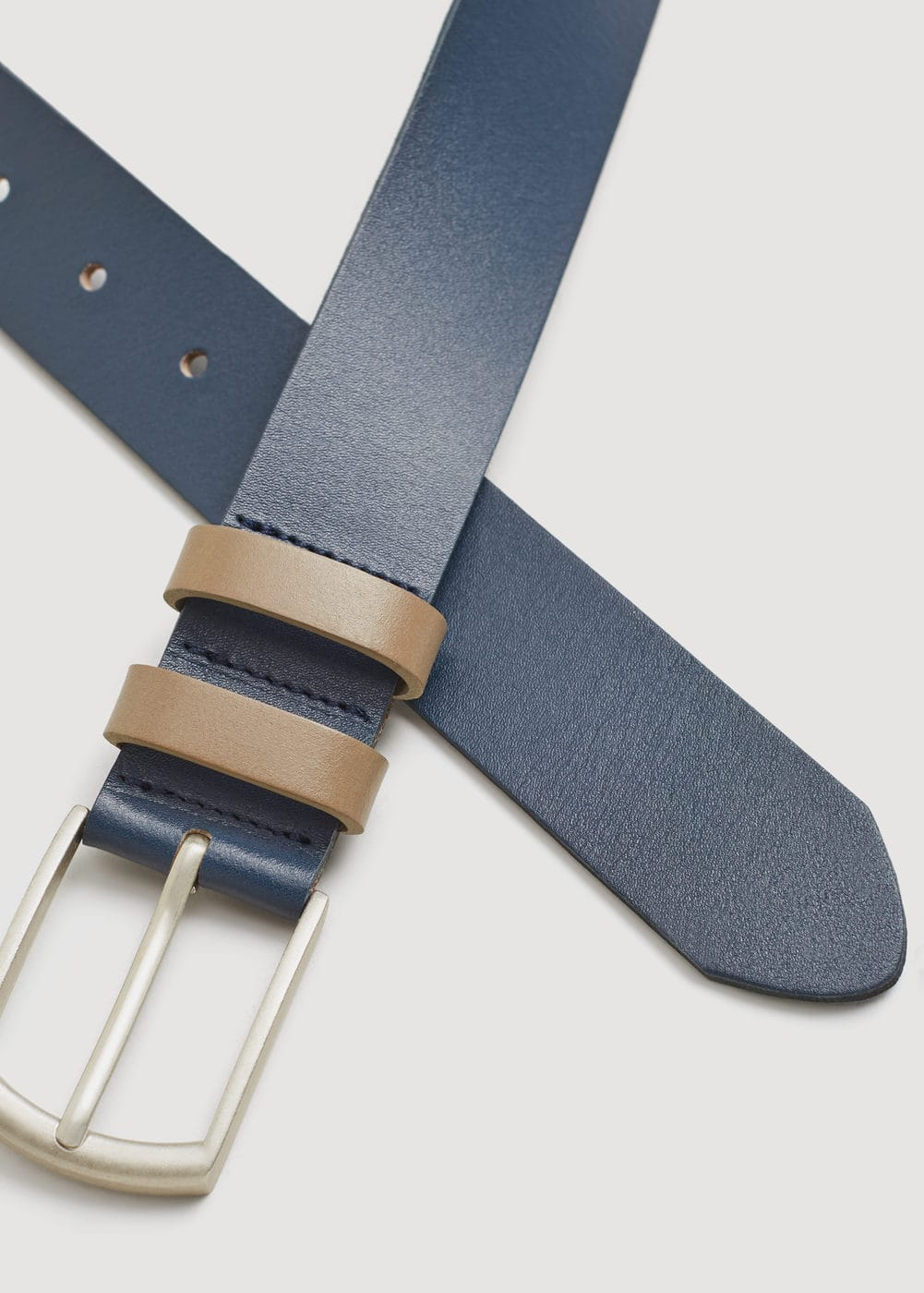 Double keeper leather belt | MANGO