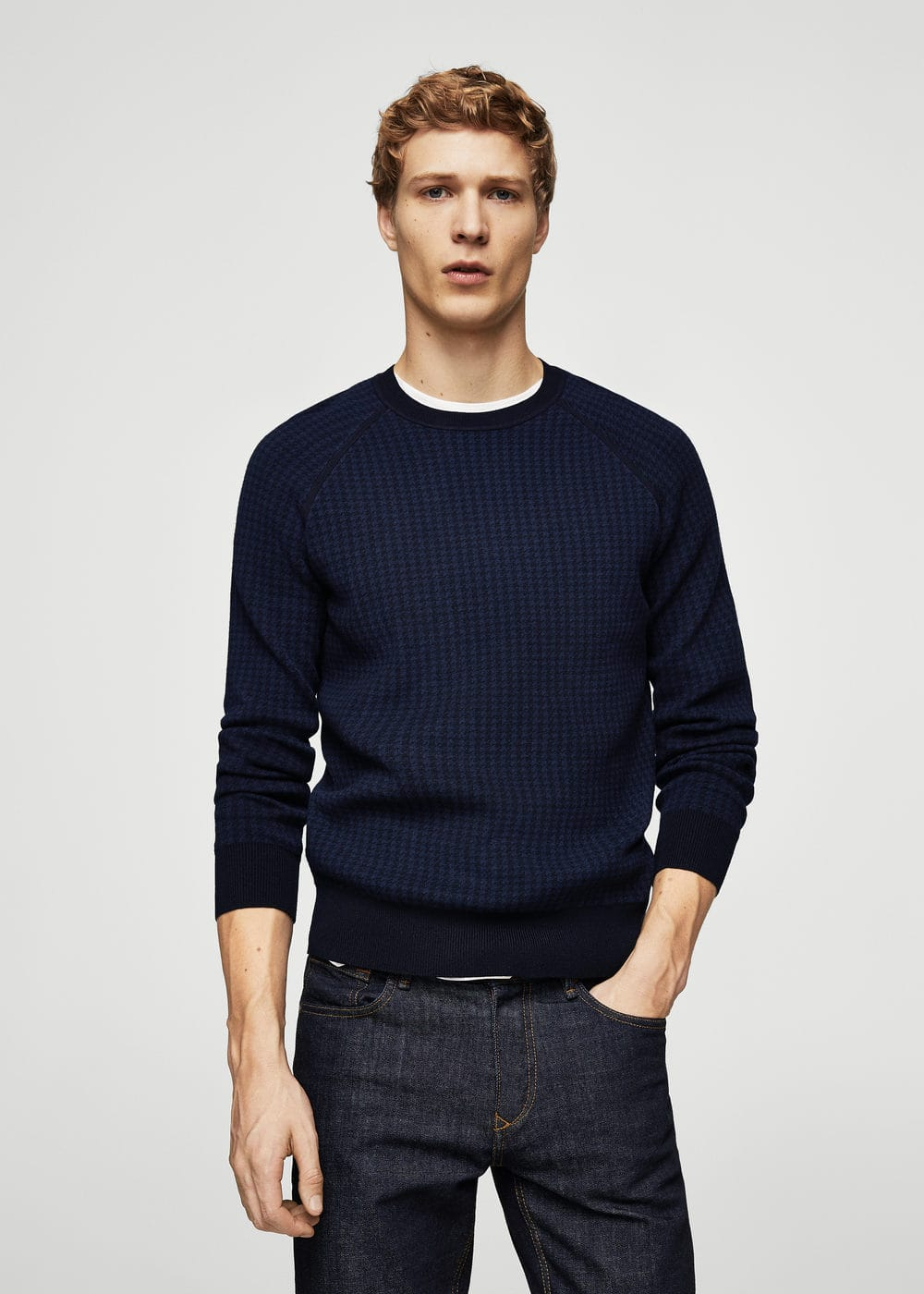 Houndstooth knit sweater | MANGO MAN