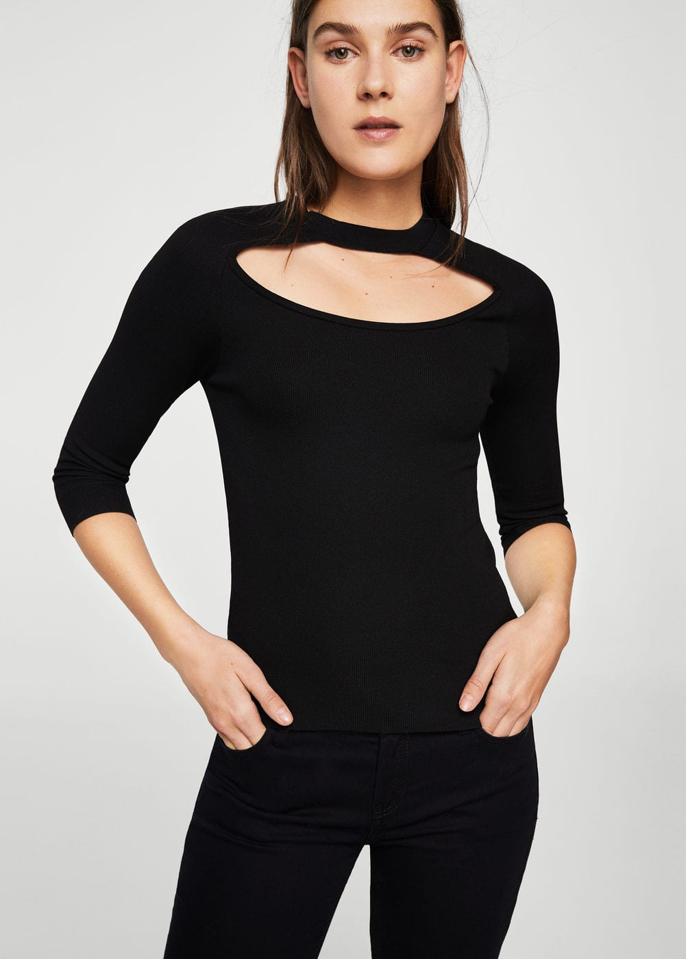 Neck detail sweater | MANGO