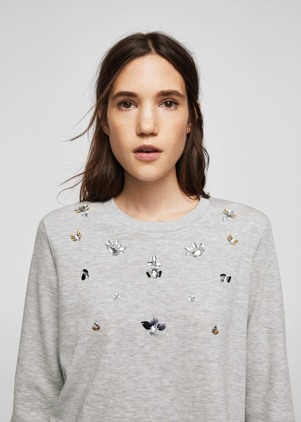 Crystals cotton sweatshirt | MANGO