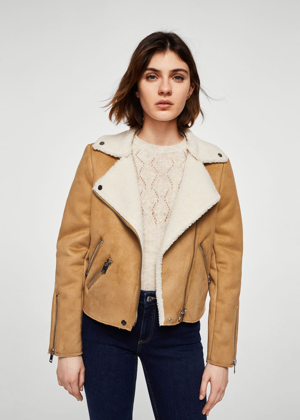 Faux shearling-lined biker jacket | MANGO