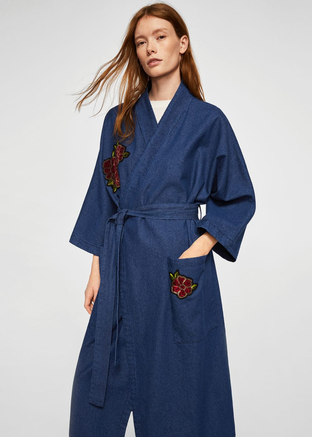 Floral embroidered denim kaftan | MANGO