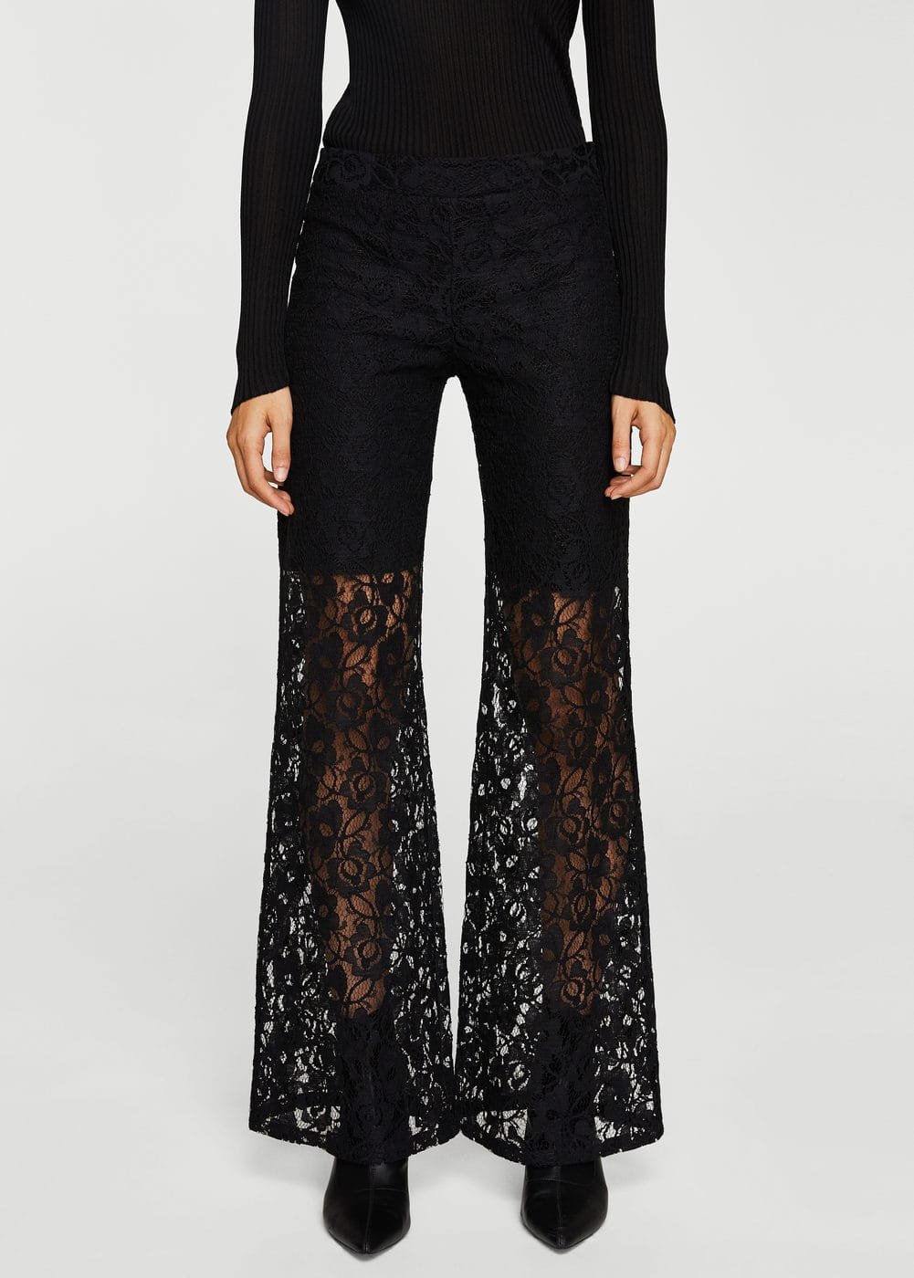 Lace flare trousers | MANGO