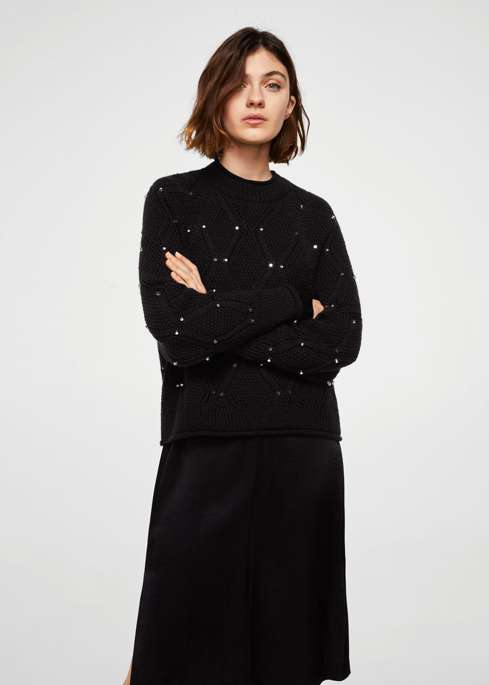 Studded Knitted Sweater by Mango