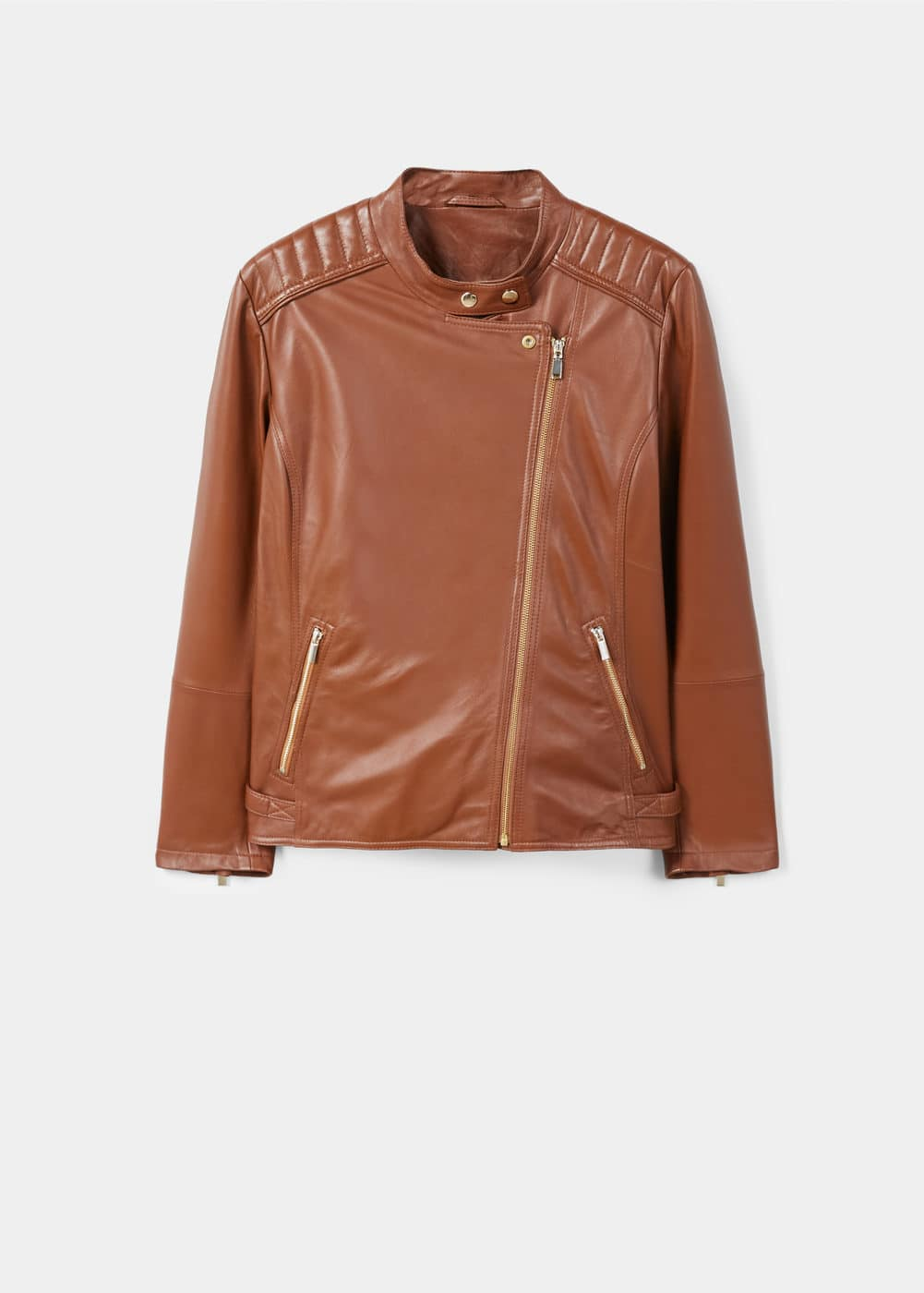 Quilted panels leather jacket | VIOLETA BY MANGO