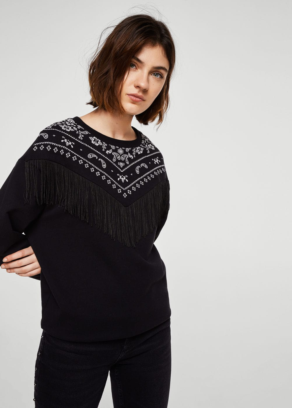 Fringed cotton-blend sweatshirt | MNG