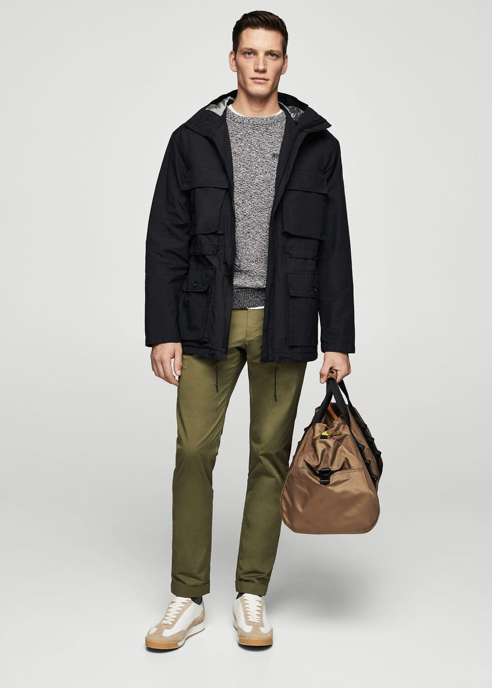 Hooded cotton field jacket | MANGO MAN
