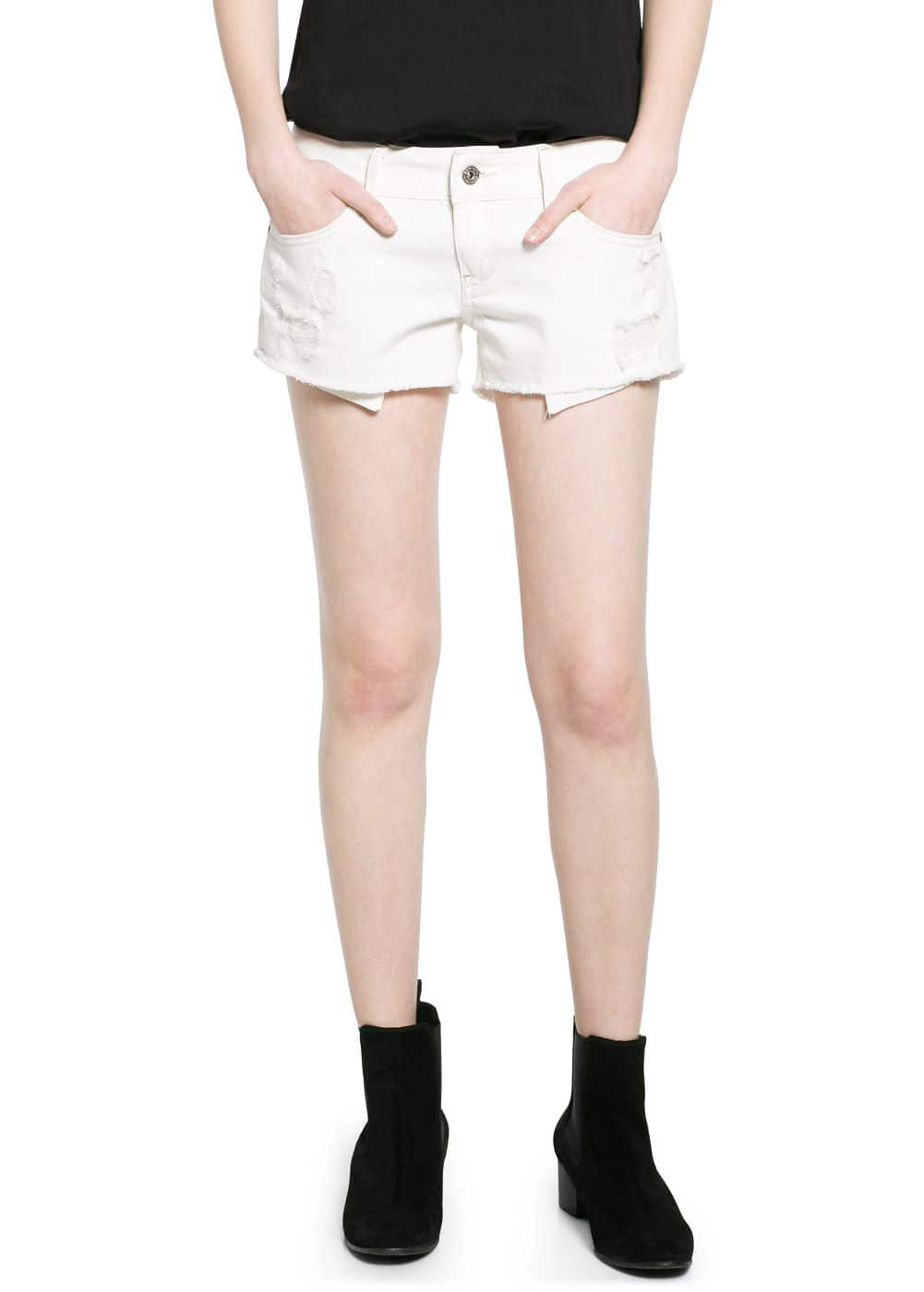 Ecru denim shorts | MANGO