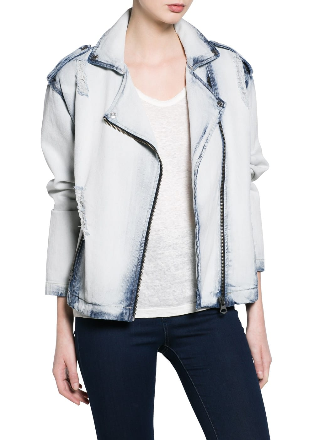Denim biker jacket | MANGO MAN