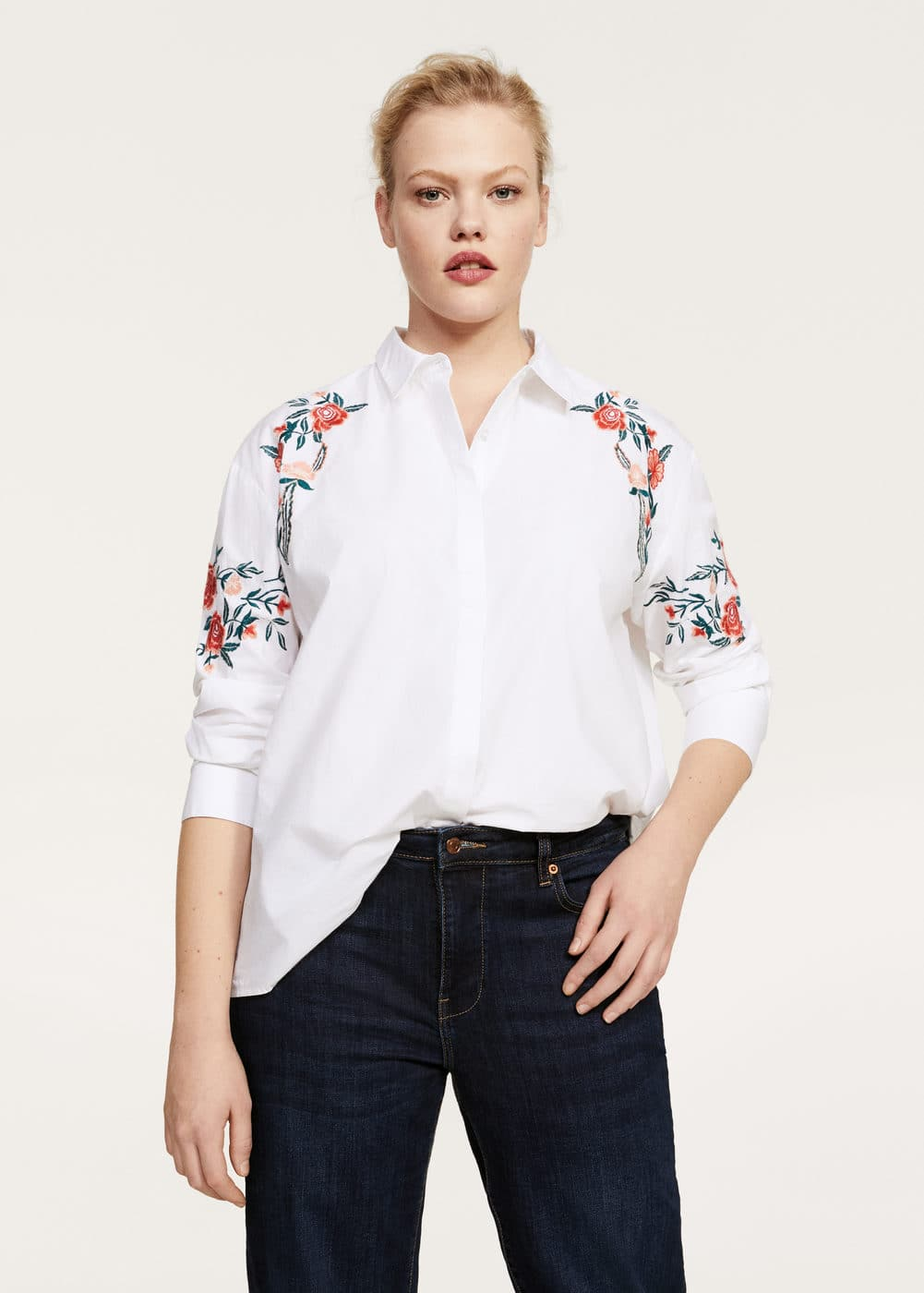 Embroidered detail shirt | VIOLETA BY MANGO