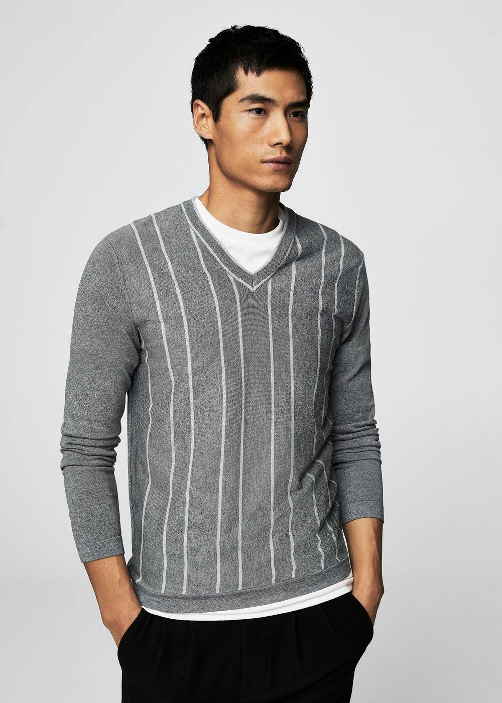 Flecked striped sweater | MANGO MAN