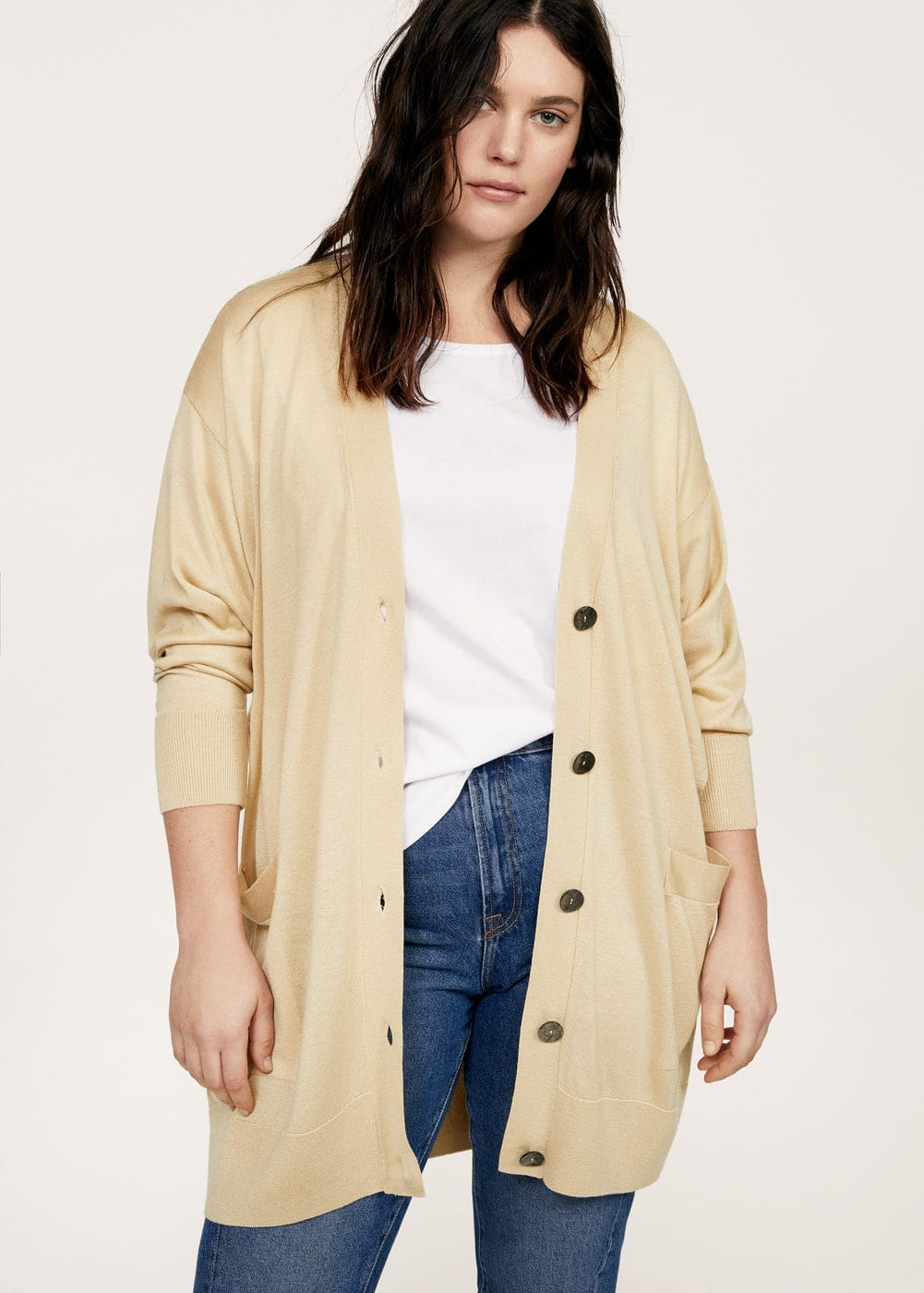 Buttoned long cardigan | VIOLETA BY MANGO