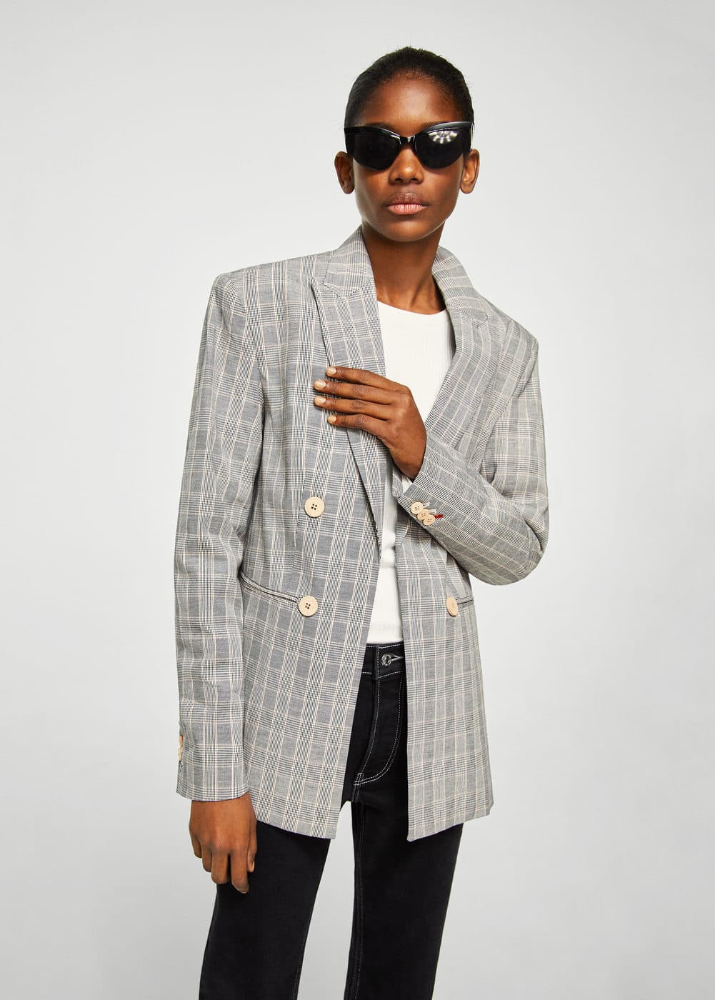 Double-breasted check suit blazer | MANGO