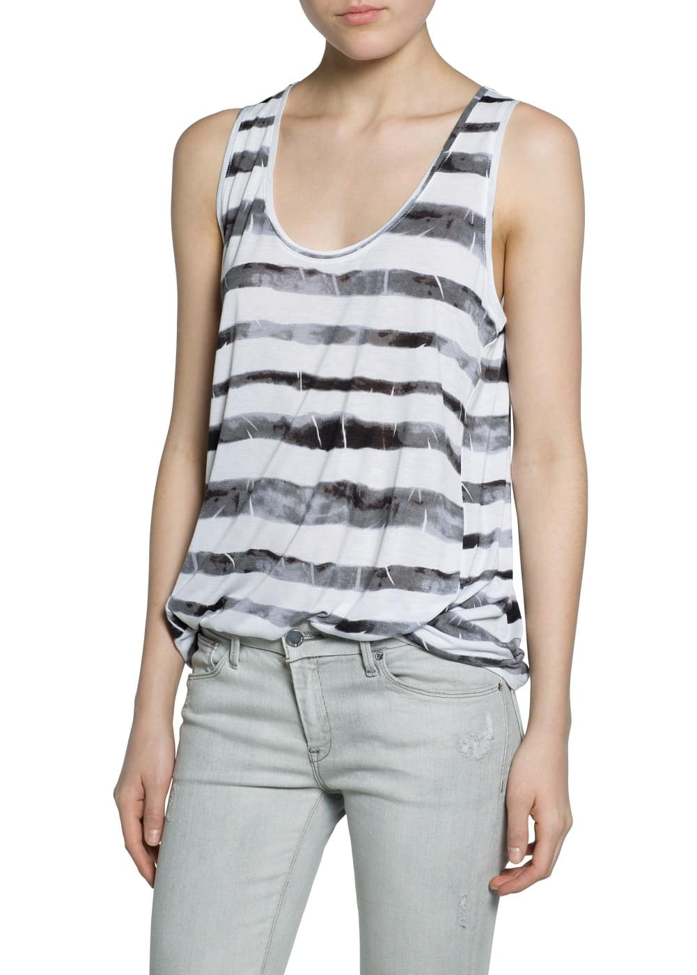 Tie-dye striped top | MANGO