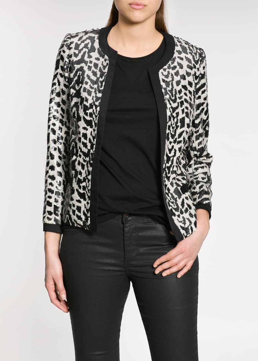 Sequin monochrome jacket | MANGO