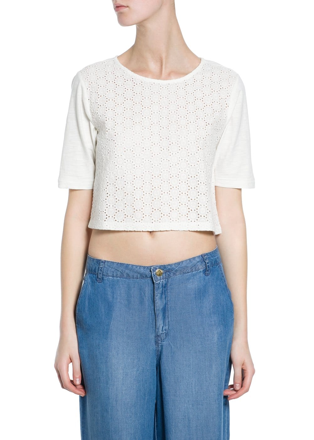 Camiseta cropped bordada | VIOLETA BY MANGO