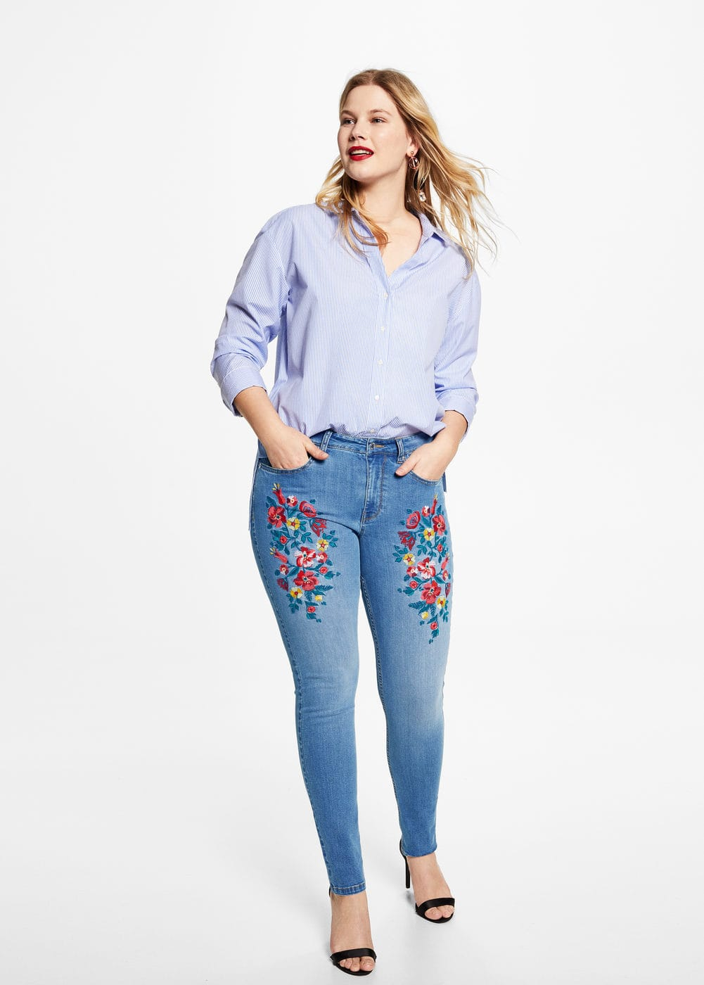 Alexia embroidery super slim-fit jeans | VIOLETA BY MANGO