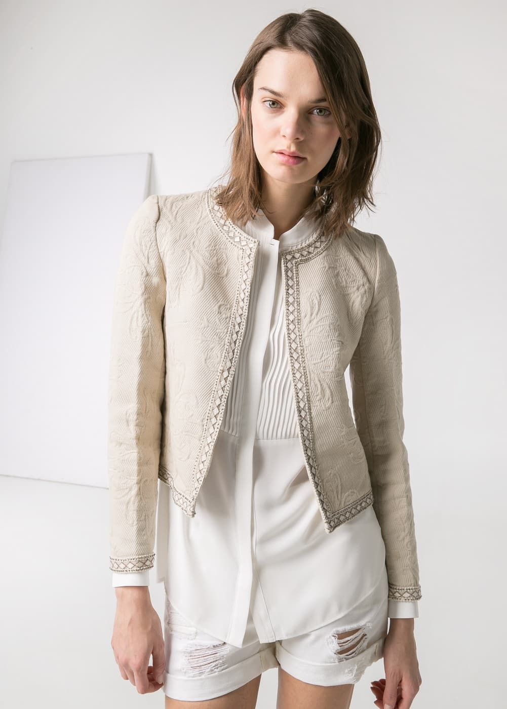 Beaded textured jacket | MANGO
