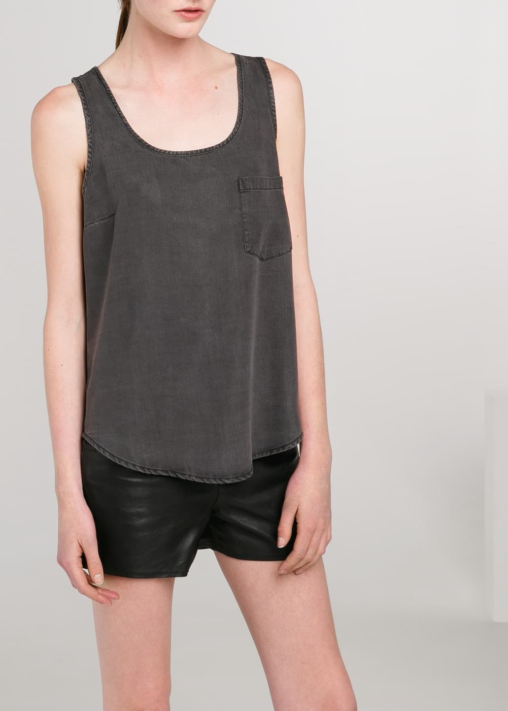 Grey soft fabric top | MANGO