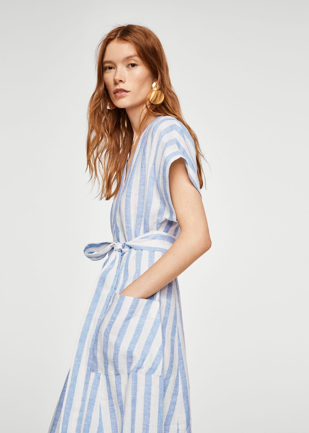 228c9cb88 Striped linen dress - Women | Mango USA