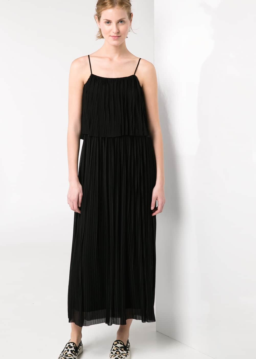 Pleated long dress | MANGO