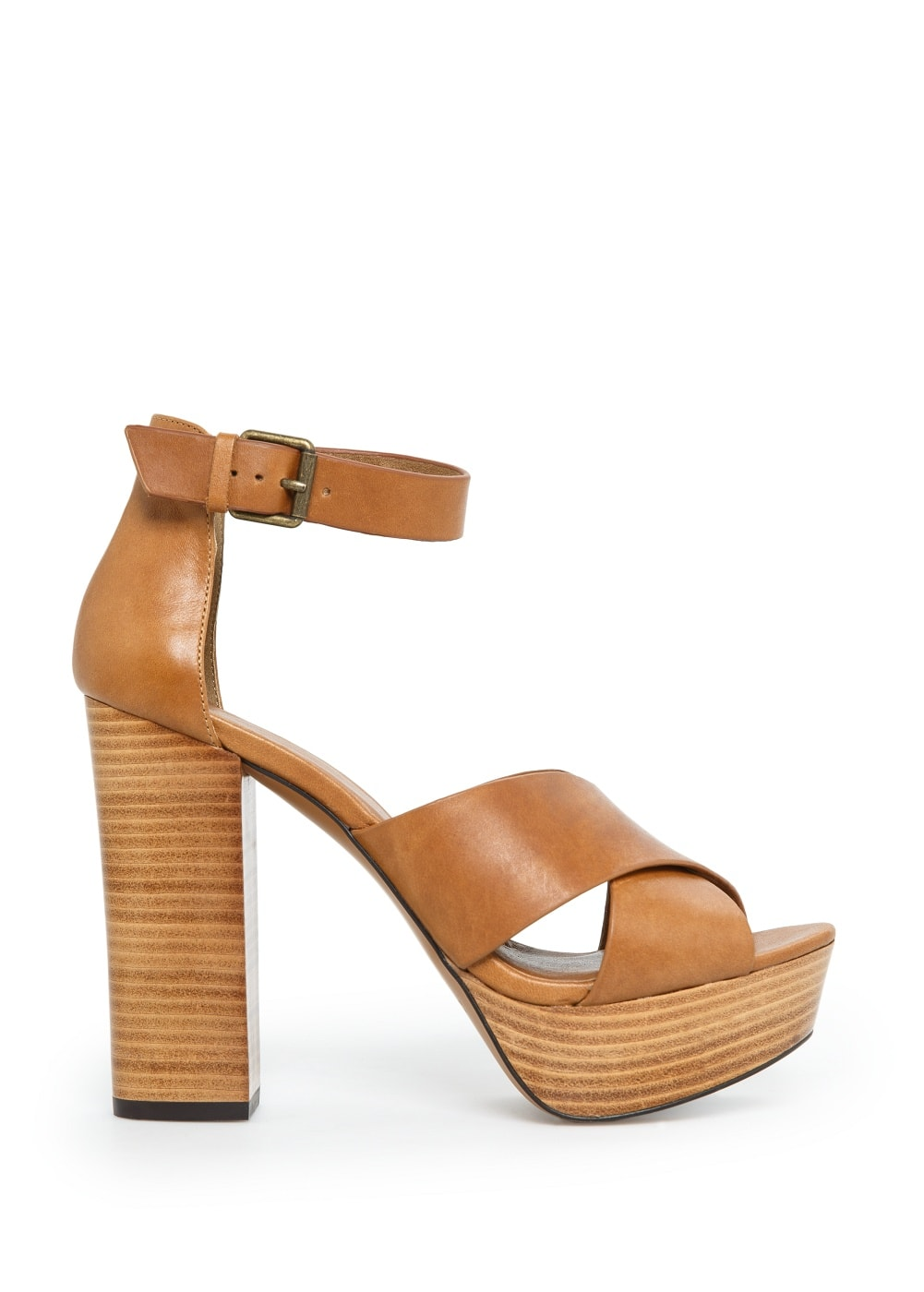 Ankle-cuff leather sandals | MANGO