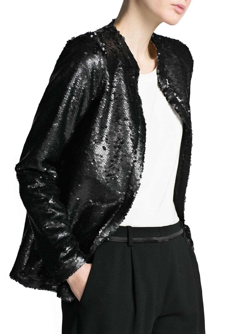 Mao collar sequin jacket | MANGO
