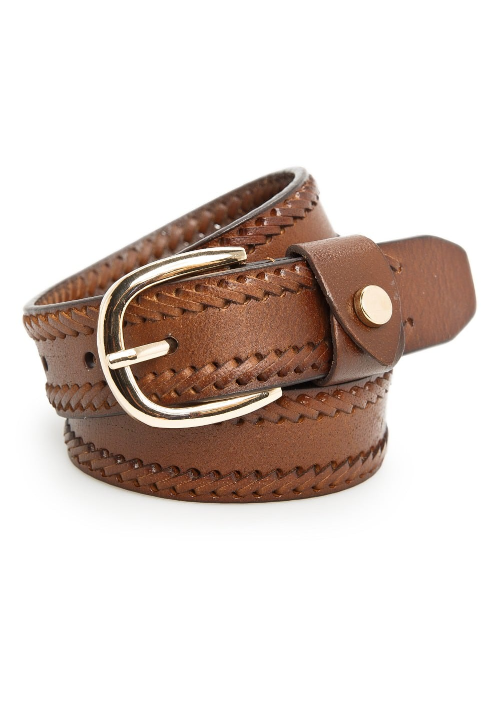 Leather stitch belt | MANGO