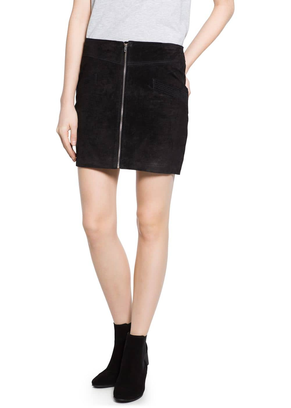 Zip leather miniskirt | MANGO