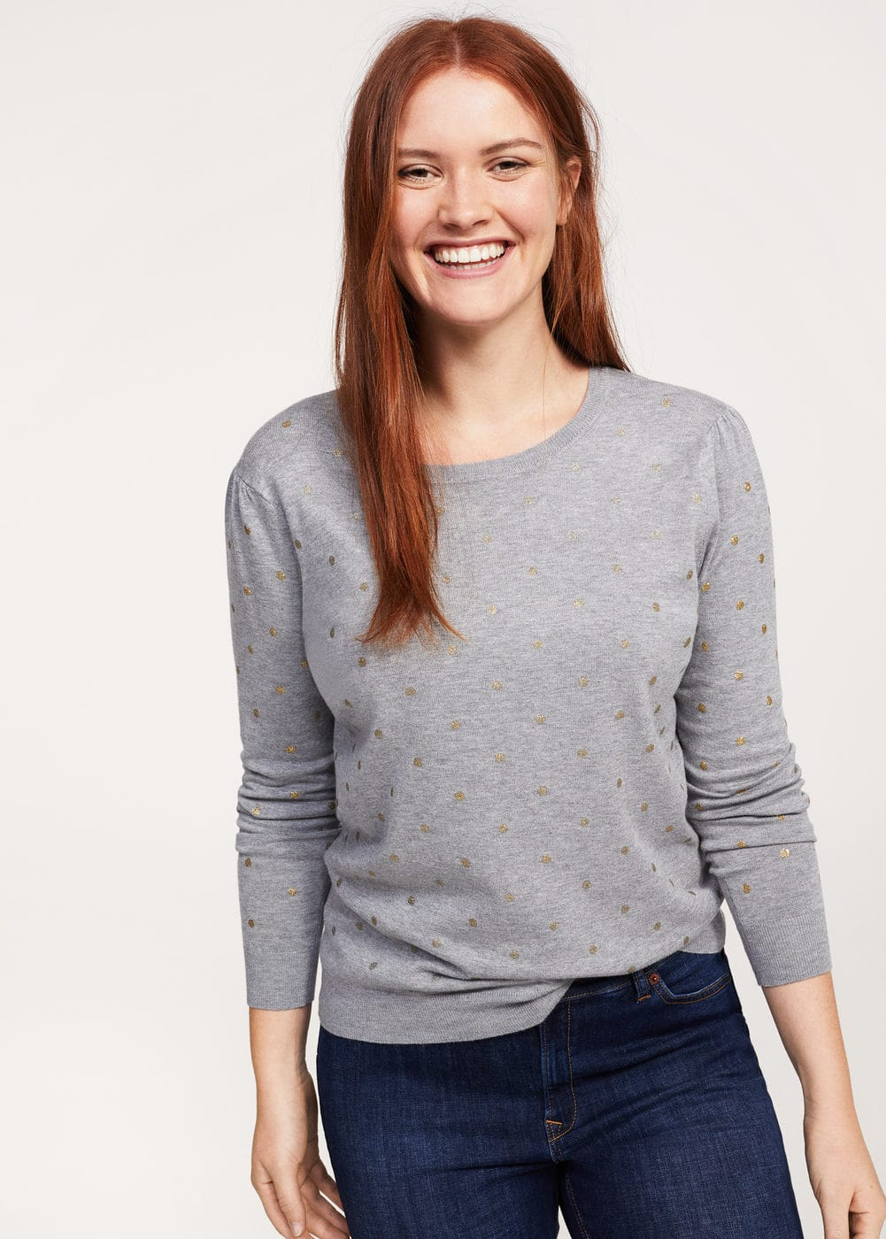 Metallic polka dot sweater | MANGO