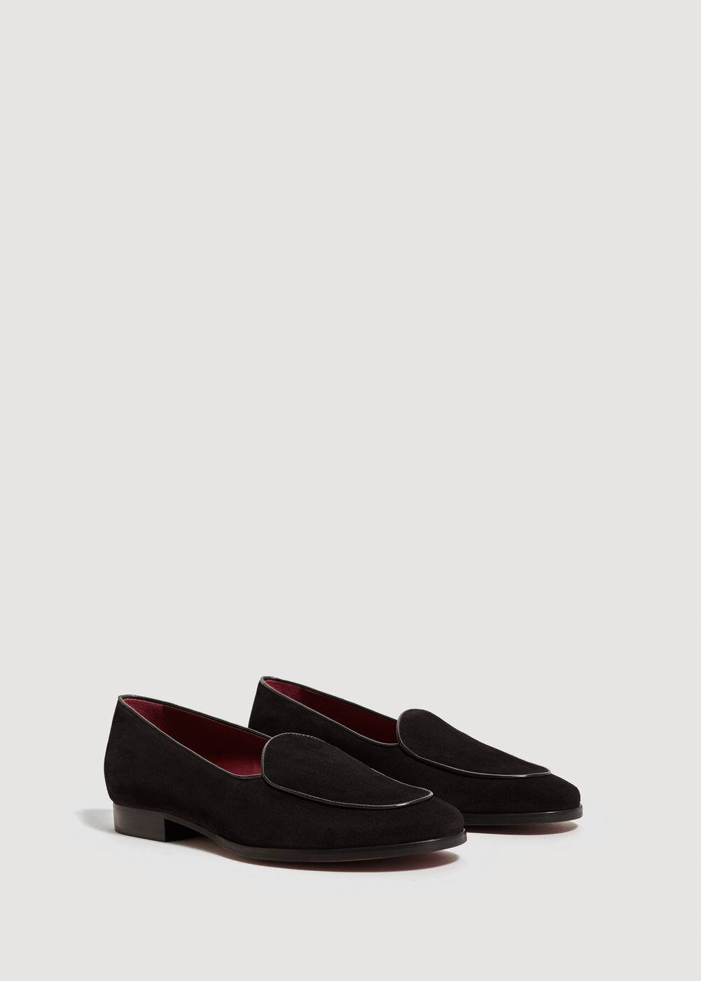 Suede leather slippers  | MANGO