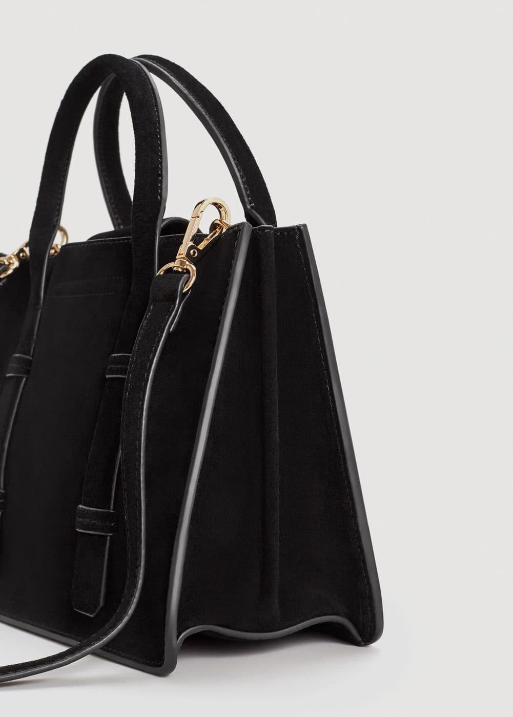 Double-strap leather bag | MANGO