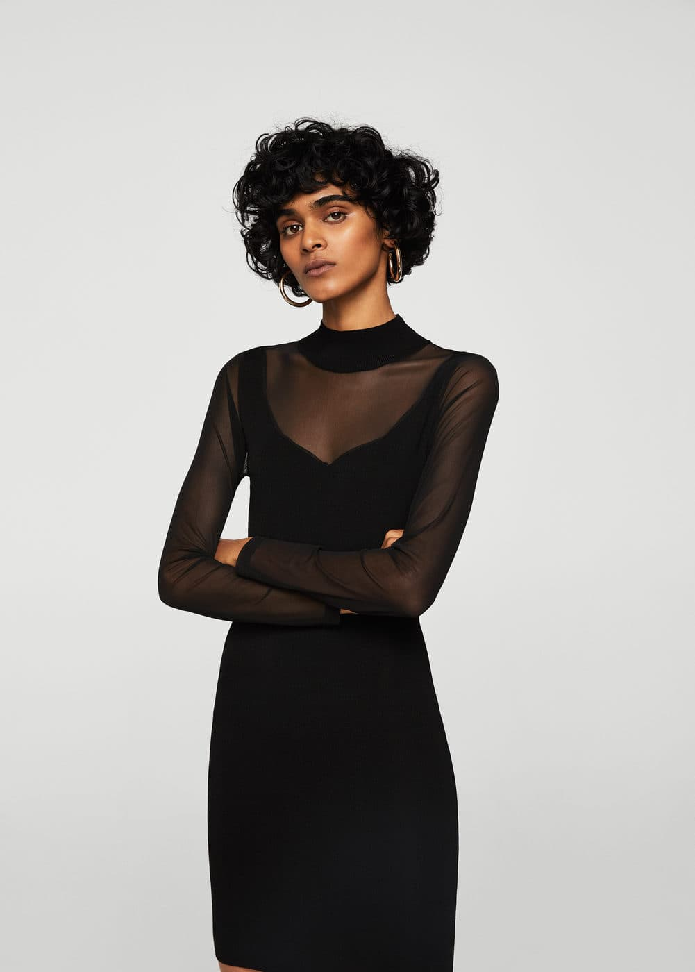 Sheer panels dress | MANGO