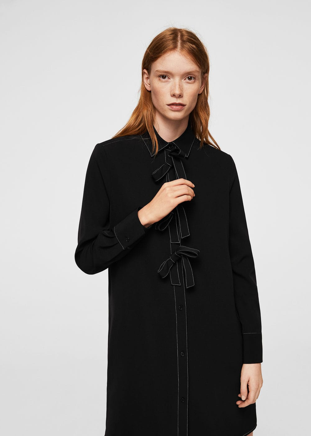 Contrasted bow dress | MANGO