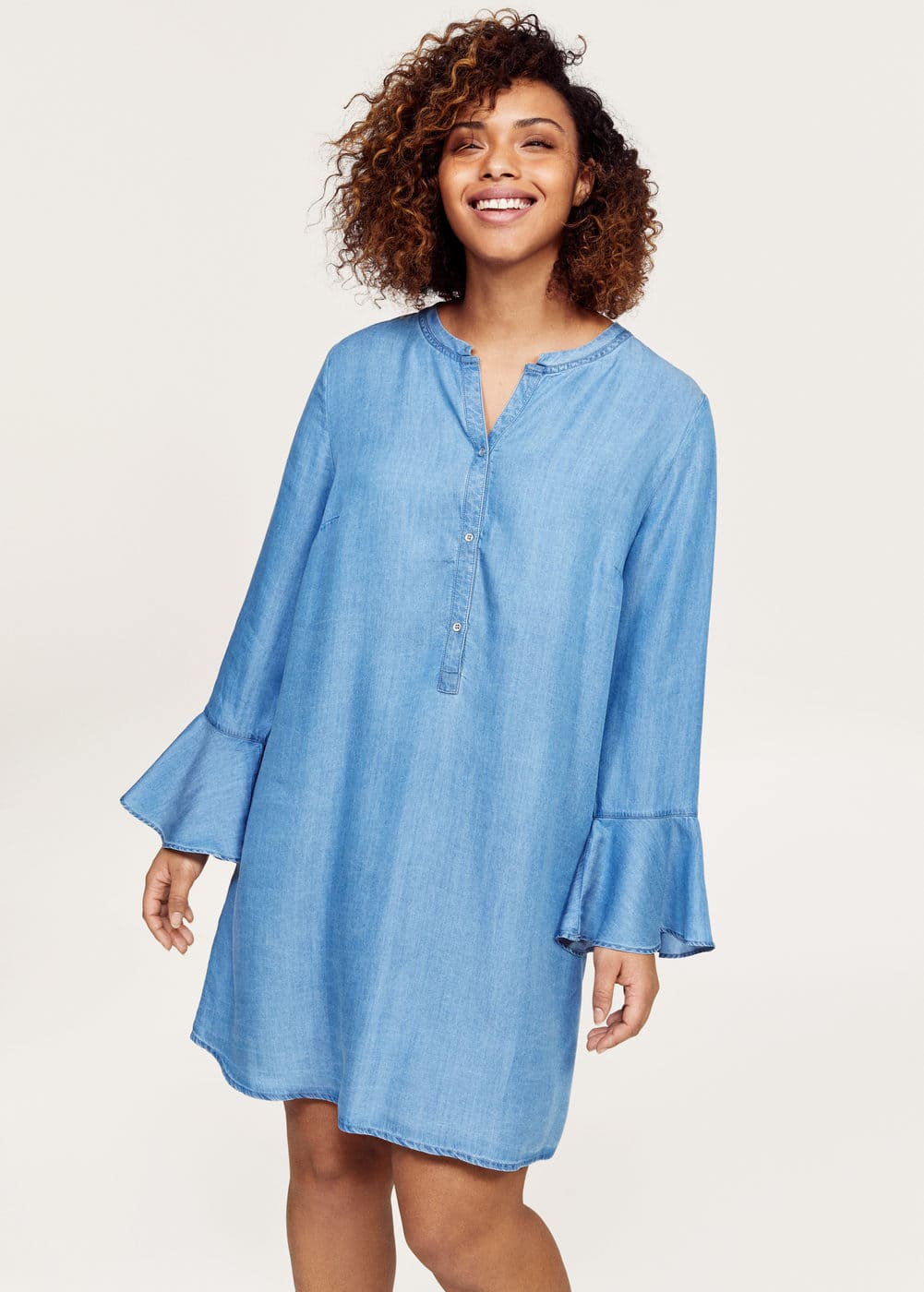 Flared sleeve denim dress | VIOLETA BY MANGO